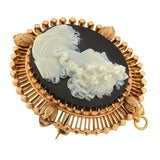 Victorian 14kt Carved Hardstone Cameo Pin/Pendant