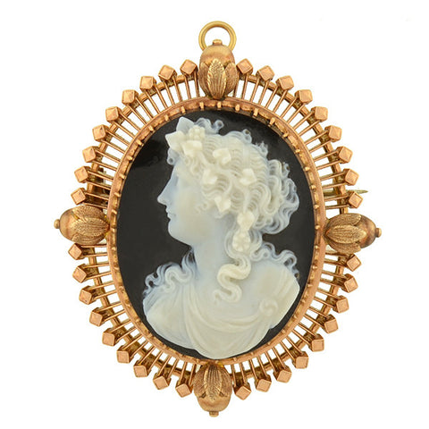 Art Nouveau 14kt Enamel, Pearl & Diamond Angel Pin/Pendant