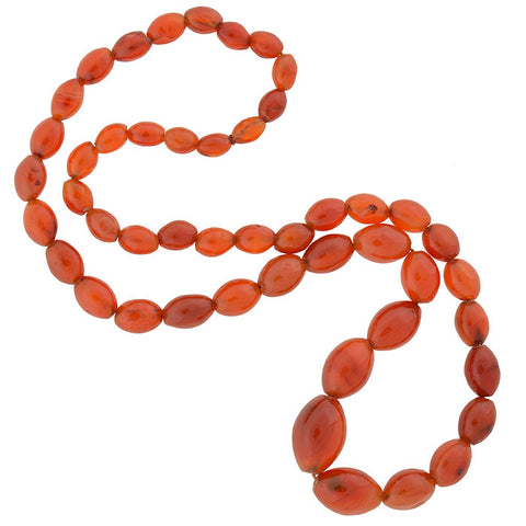 Art Deco Large Carnelian Bead Necklace 26""