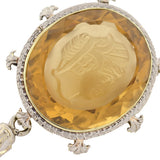 Edwardian 14kt Gold Carved Citrine Intaglio Necklace