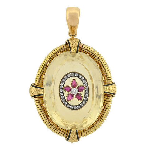 Victorian Large 14kt Citrine, Ruby & Rose Cut Diamond Pendant