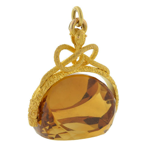 Victorian Huge 18kt Faceted Citrine & Snake Spinner Fob