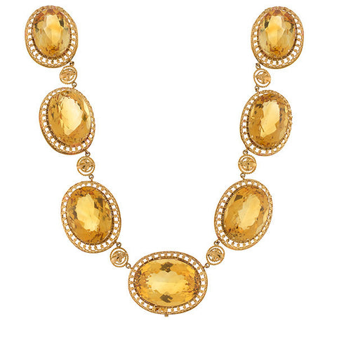 Late Victorian 14kt Large Faceted Citrine Link Necklace