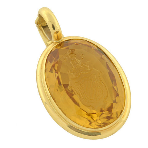 WHITE Estate Large 18kt Faceted Citrine Intaglio Pendant