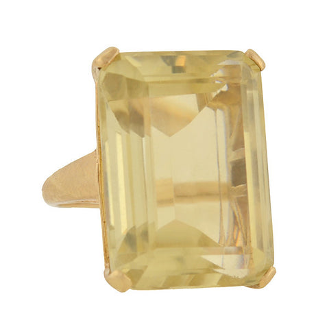 Vintage Large 14kt Citrine Cocktail Ring 37ct.