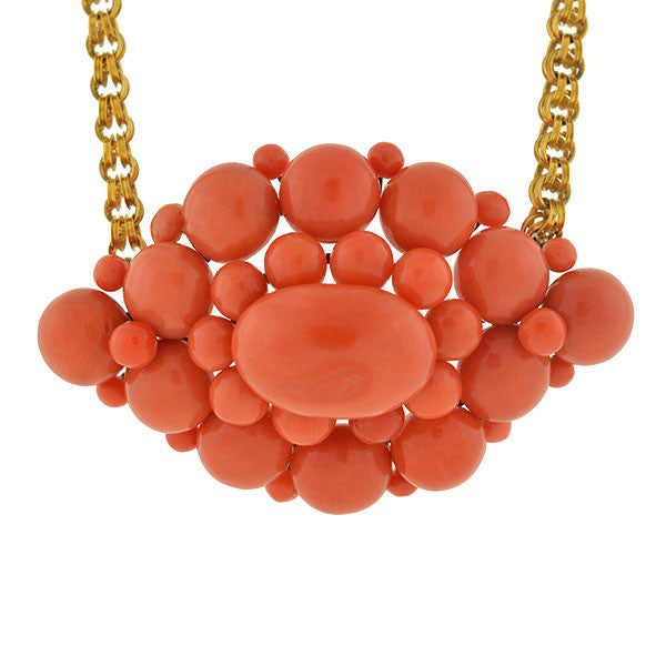 Victorian 14kt Natural Coral Cluster Necklace