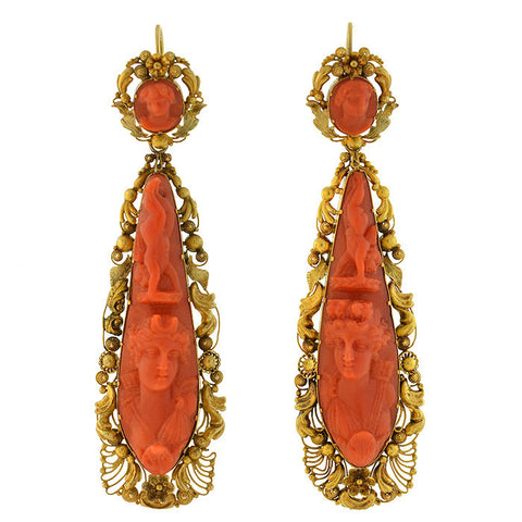 Victorian Dramatic 18kt Carved Coral Cannetille Wirework Day & Night Earrings