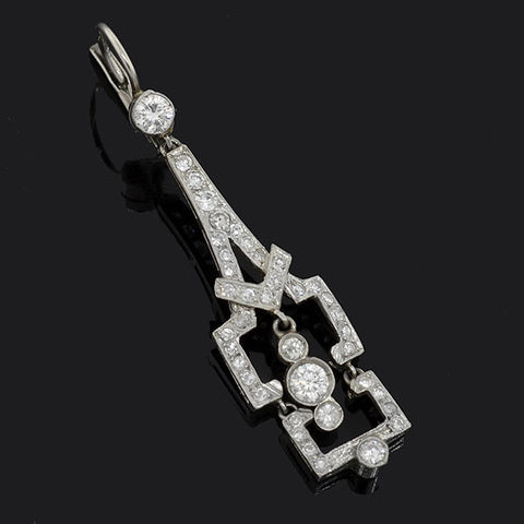 Art Deco Dangling Platinum & Diamond Earrings 2.25ctw