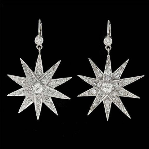 Edwardian 14kt Large Diamond Starburst Earrings 2.50ctw