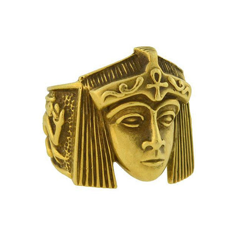 Vintage 18kt Sculptural Egyptian Revival Style Ring