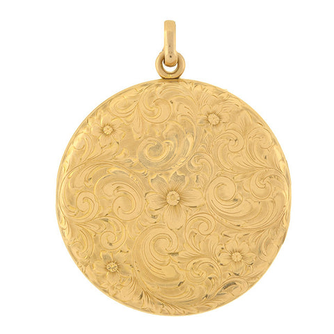 Victorian 14kt Etched Floral Locket