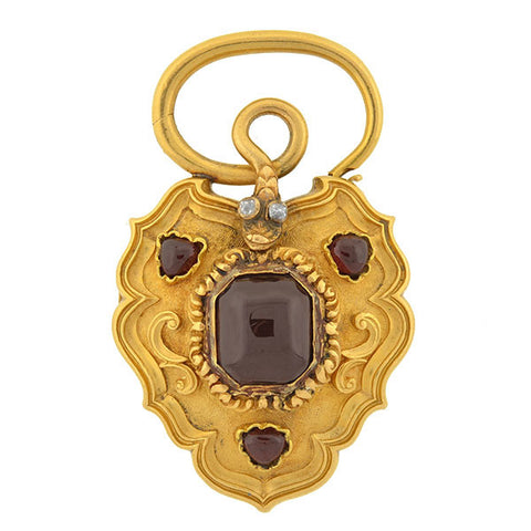 Victorian Large 18kt Garnet & Diamond Snake Padlock Locket