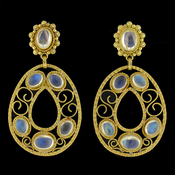 Estate Large 18kt Moonstone Teardrop Hoop Earrings