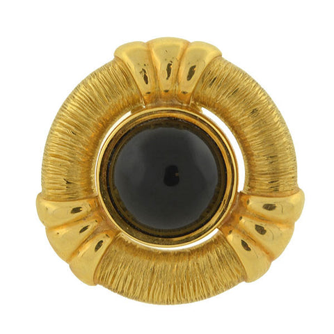 Estate Large 18kt Gold & Onyx Clip Earrings