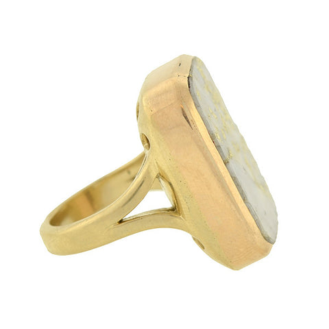 Victorian 14kt Huge Gold Quartz Conversion Ring