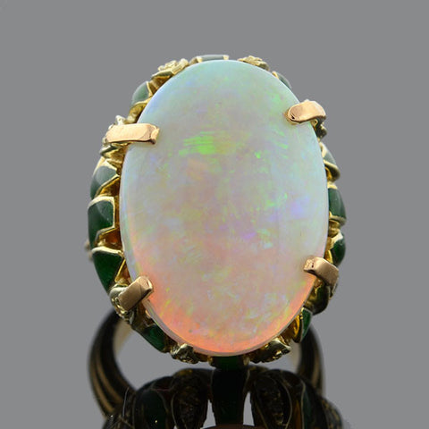 Art Nouveau Large 14kt Opal Diamond & Enamel Ring 14ctw
