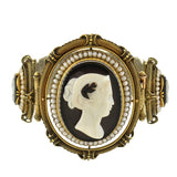 Victorian 14kt Hard Stone Cameo & Natural Pearl Bracelet