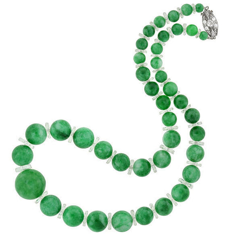Art Deco Large Jade Bead Necklace with Diamond Clasp