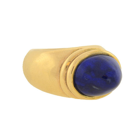 Estate Huge 14t Gold Cabochon Lapis Ring