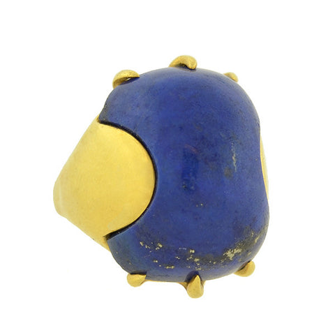 Vintage Huge 18kt Gold & Inlaid Cabochon Lapis Ring