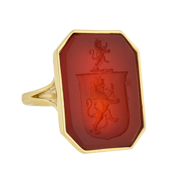 Victorian Style 14kt Carnelian Family Crest Intaglio Signet Ring