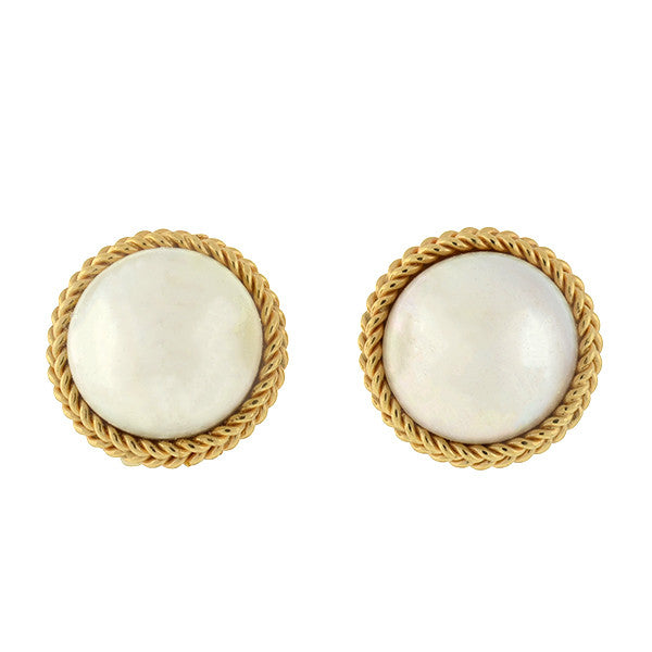 Estate Large 14kt Mabe Pearl Stud Earrings