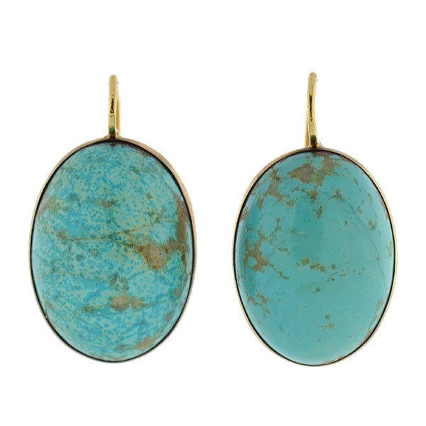 Victorian 14kt Large Natural Turquoise Drop Earrings