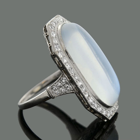 Edwardian Large Platinum 10ct Moonstone Diamond Ring