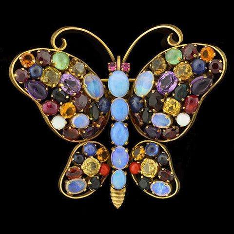 Retro Huge 18kt Multi Gemstone Butterfly Pin