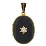 Victorian 15kt Banded Agate & Diamond Locket 0.75ct