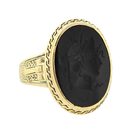 Victorian 14kt Carved Onyx Intaglio Ring