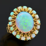 Retro 10kt Gold & Opal Cabochon Halo Ring