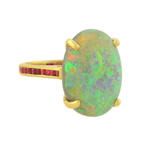 Estate 14kt Large 10ctw Opal Ring with Calibrated Ruby Band