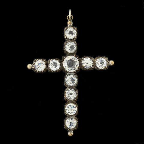 Victorian Large Silver French Paste Cross Pendant