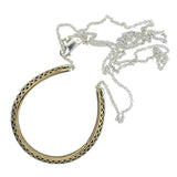 Victorian Sterling Topped 10kt French Paste Horseshoe Necklace