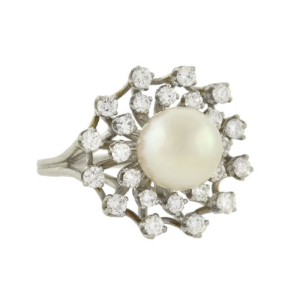 Vintage Platinum Cultured Pearl & Diamond Ring