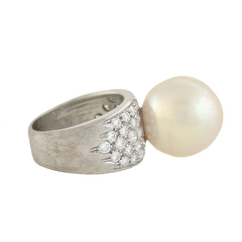 Estate 18kt Pavé Diamond + 15mm South Sea Pearl Ring