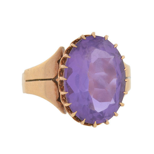 Victorian 14kt Rose Gold & Faceted Amethyst Ring