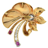 Retro Huge 18kt Ruby & Diamond Flower Pin/Pendant