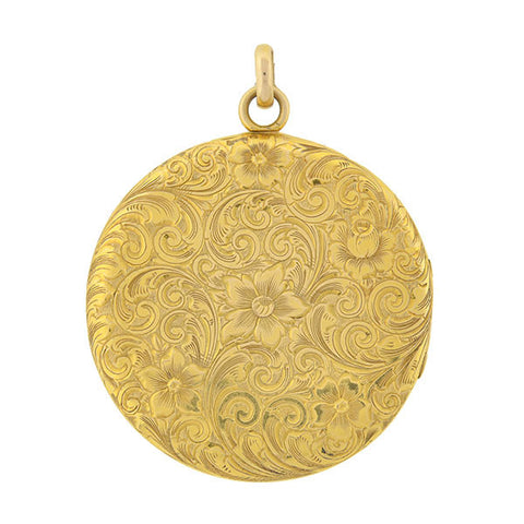 Victorian Large 14kt Gold Etched Floral Motif Locket