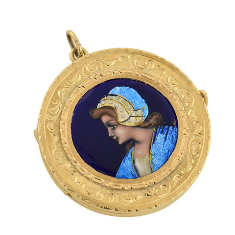 Victorian 14kt French Limoges Porcelain 3-Sided Locket