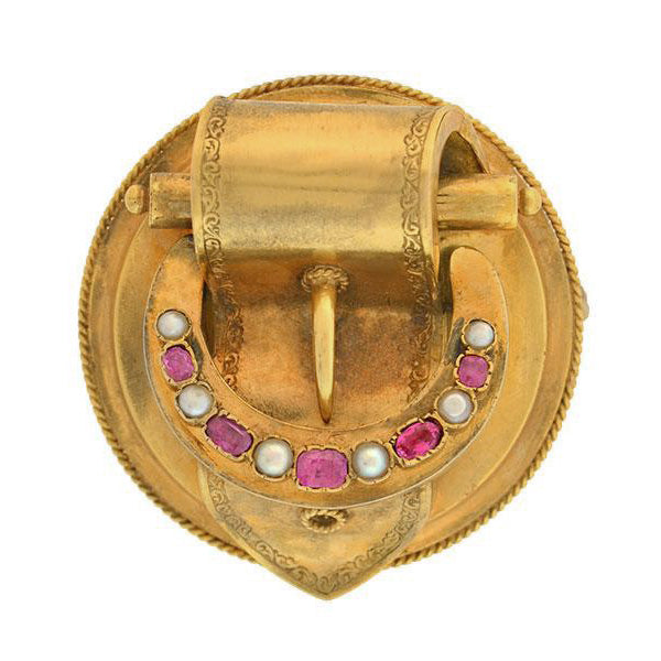 Victorian Large 14kt Natural Pearl & Pink Sapphire Buckle Locket Pin