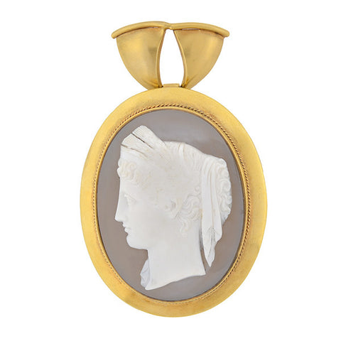 Victorian 18kt Large Hand Carved Sardonyx Cameo Pendant