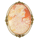 Late Victorian 10kt Carved Shell Cameo Pin