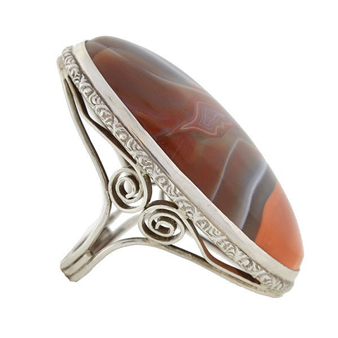 Arts & Crafts Era Huge Sterling Silver & Agate Ring