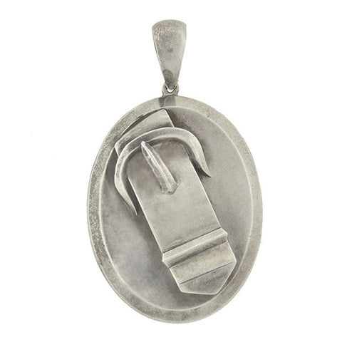 Victorian Large Sterling 3-Dimensional Buckle Locket
