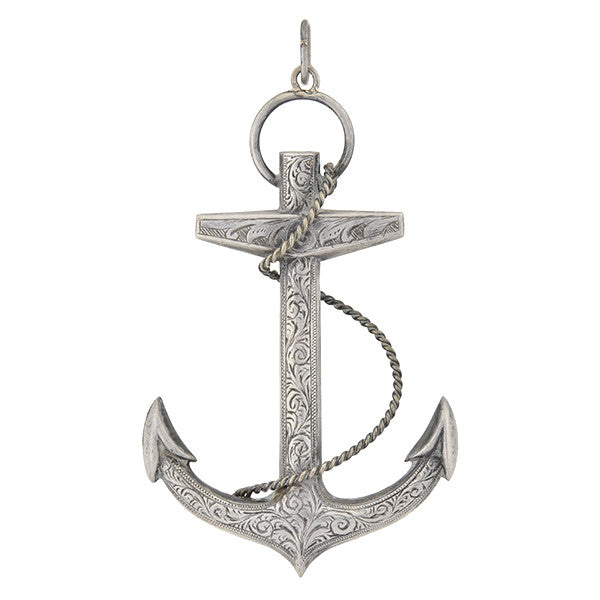Victorian Large Sterling Silver Etched Anchor Pendant