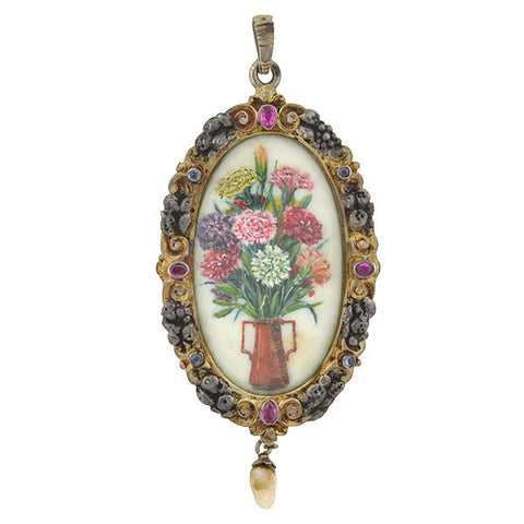 Edwardian Large Silver Gilt & Gemstone Painted Flowers Pendant