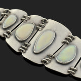 Estate Sterling & Opal Hinged Panel Link Bracelet
