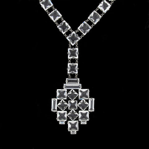 Art Deco Long Sterling & Crystal Necklace with Pendant